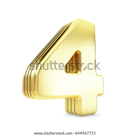 3d gold number 4 four isolated white background.