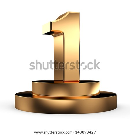 3d gold number 1 from my number collection - stock photo