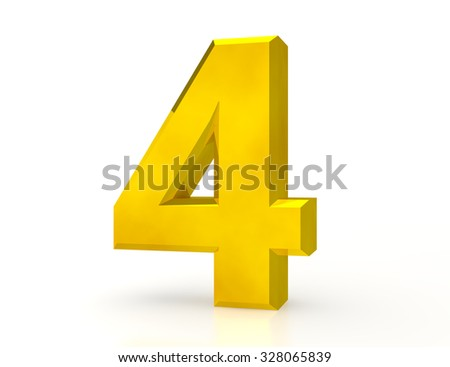3d Gold number 4 on white background