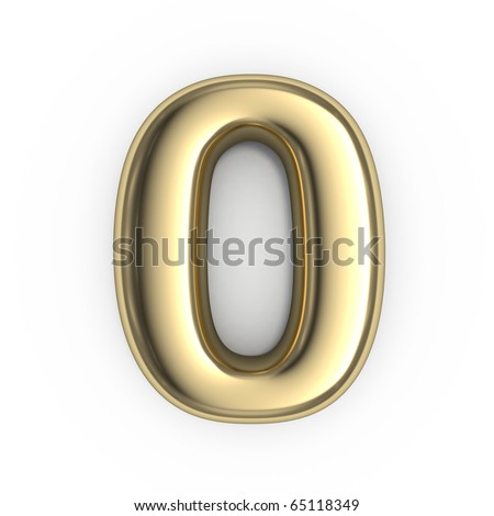 3d Gold numbers - number 0 - stock photo