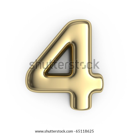 3d Gold numbers - number 4 - stock photo