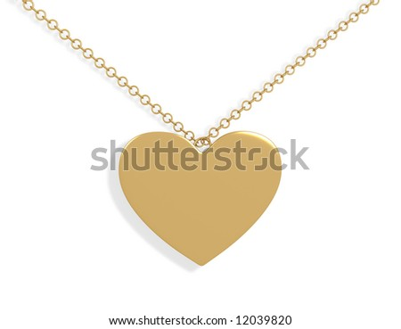 3d gold ornament in the form of heart. Objects over white - stock photo
