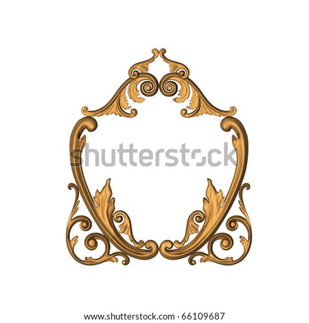 3d gold ornament in the form of woodcarving - stock photo