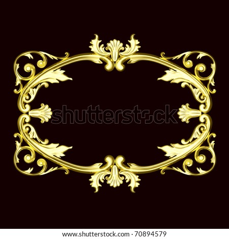 3d gold ornament, the sculptural form on a dark velvet background