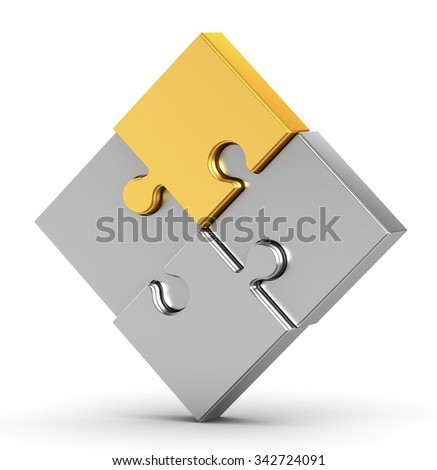 3d gold part of the puzzle on a white background - stock photo