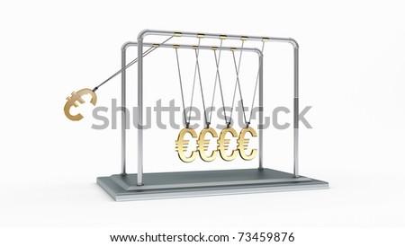 3D gold pendulum newton euros - stock photo
