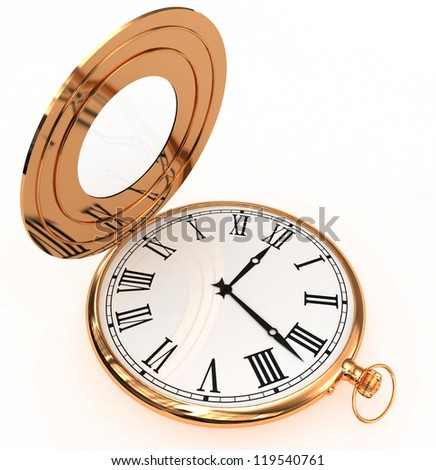 3D gold pocket clock isolated on white - stock photo