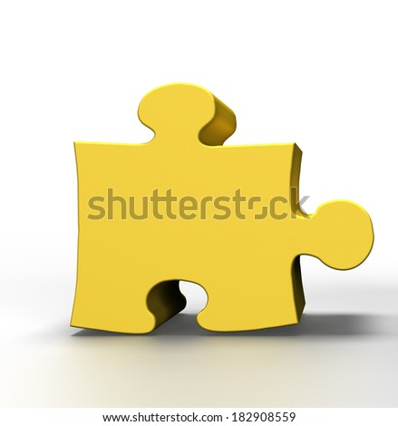 3D  gold Puzzle on a white background - stock photo