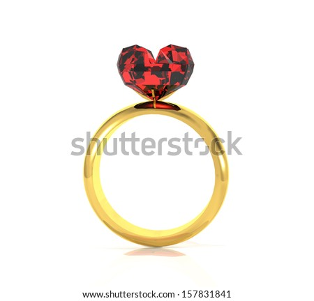 3d gold ring with a heart shape ruby - stock photo