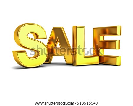 3d gold sale word isolated over white background with shadow and reflection. 3D rendering.
