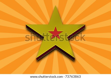 3D Gold Star on a Yellow Background - stock photo
