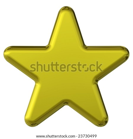 3d gold star with round edges silhouetted on a white background - stock photo