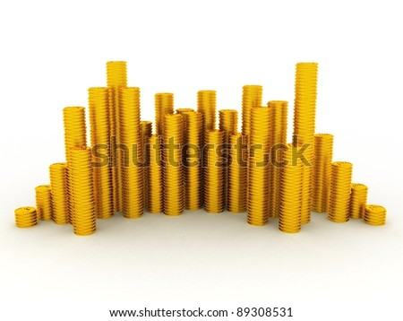 3D Gold towers made out of gold coins - stock photo