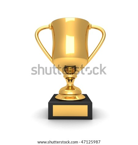 3d gold trophy - stock photo