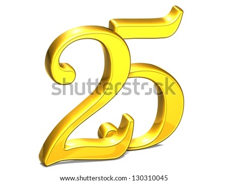 3D Gold Twenty-Five on white background