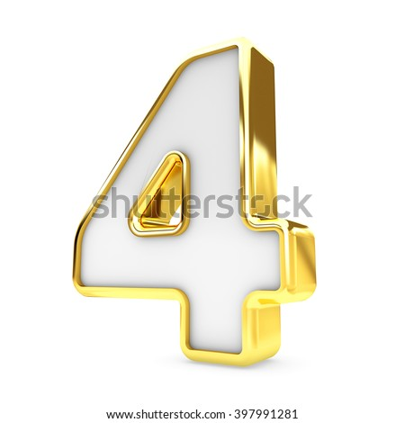 3d gold - white number 4 four isolated white background. - stock photo