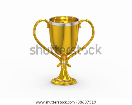 3d gold winning cup isolated on white