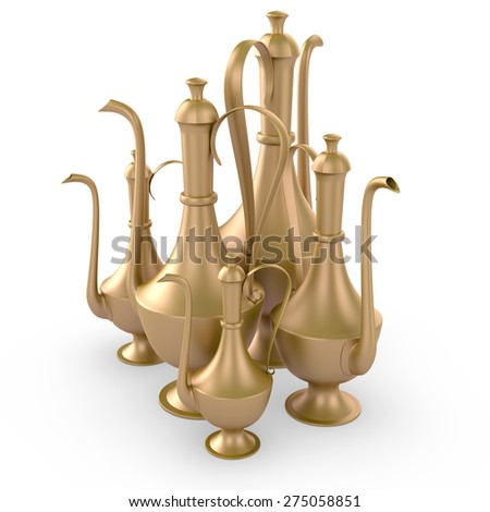 3d golden ancient arabic teapots isolated on white background