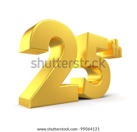 3d golden anniversary - 25th, isolated on white background - stock photo