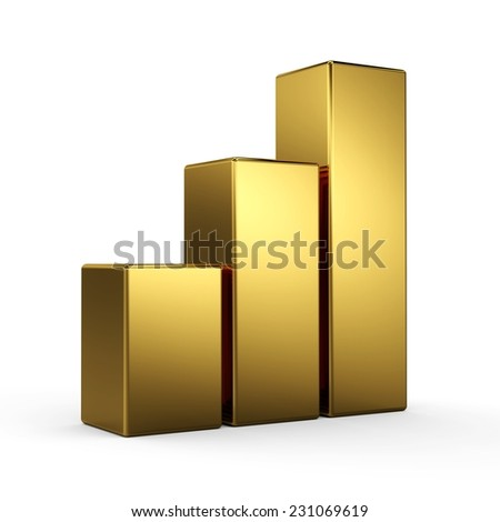 3d golden bar graph diagrams. Business growth. Three gold bars.