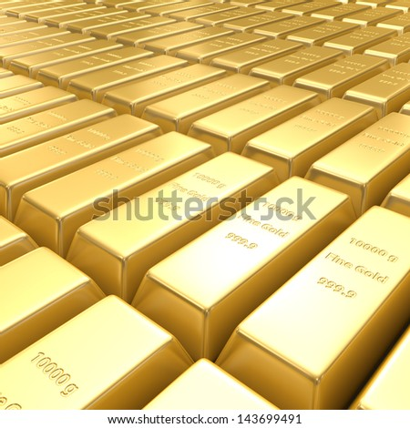 3d golden bars - stock photo