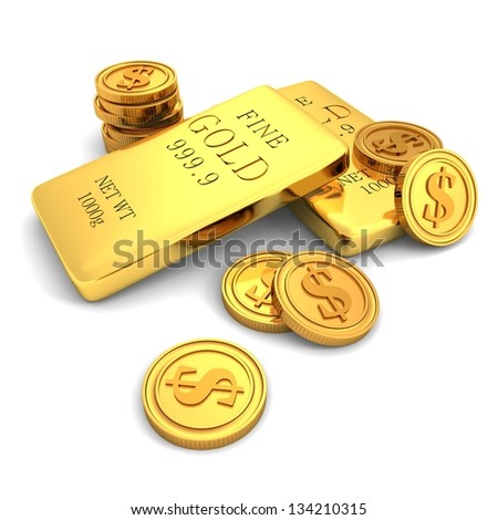 3d golden bars and dollar coins on white - stock photo