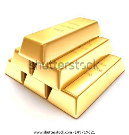3d golden bars on a white background - stock photo