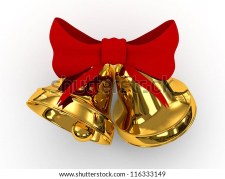 3D golden bells and red bow isolated on white. - stock photo