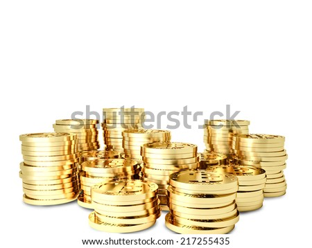 3d golden bitcoin financial background - stock photo