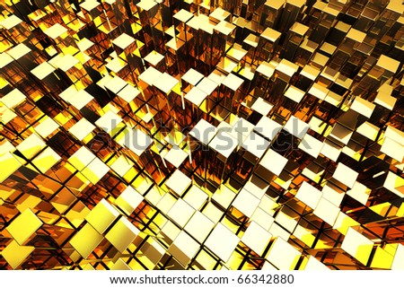 3D Golden Blocks Abstract Background - stock photo