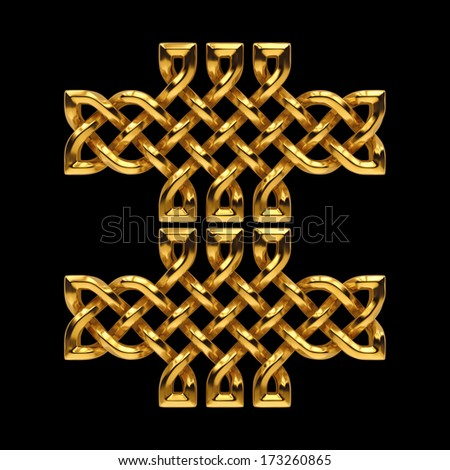 3d golden Celtic pattern, keltic ornamental design element isolated on black - stock photo
