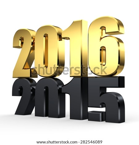 3d golden 2016. 2015-2016 change represents the new year golden 2016. 3d render illustration. Metallic 2016 - stock photo