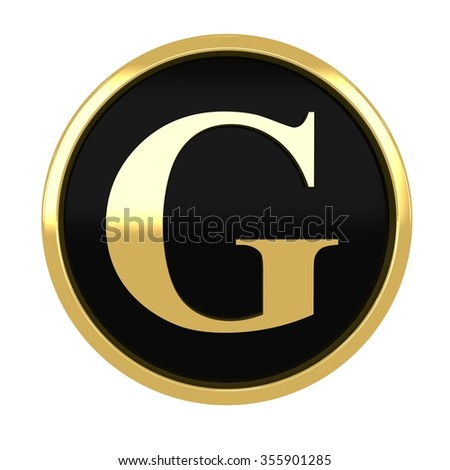 3d golden circle letter g with gold metal frame alphabet render - stock photo