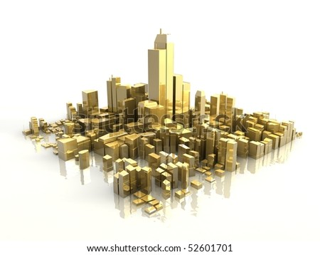 3d golden city - stock photo