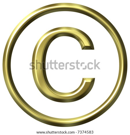3D Golden Copyright Symbol