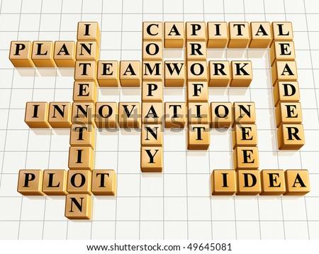 3d golden cubes like crossword - teamwork, innovation, leader, idea, plan, plot, company, capital, profit, intention, need - stock photo