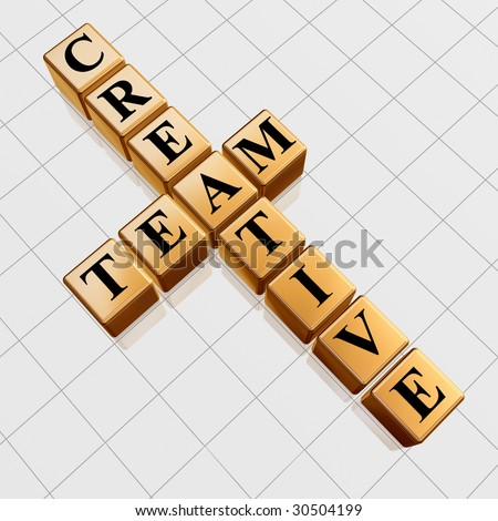 3d golden cubes with black letters like crossword with text - creative team - stock photo