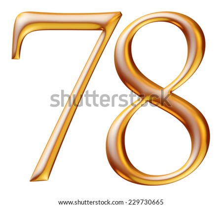 3d golden digit numbers 7 & 8 isolated white background