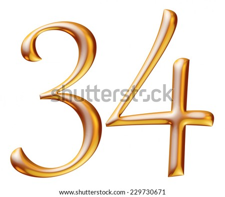 3d golden digit numbers 3 & 4 isolated white background