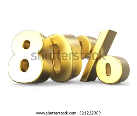 3D golden discount collection - 80% - stock photo