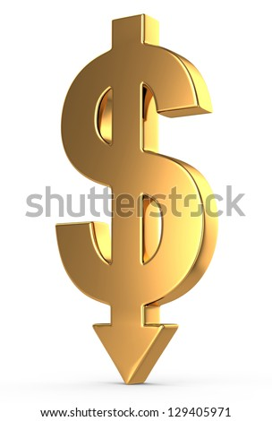 3d golden dollar sign with arrow down - stock photo