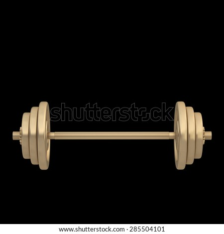 3d golden dumbbell isolated on black background. High resolution