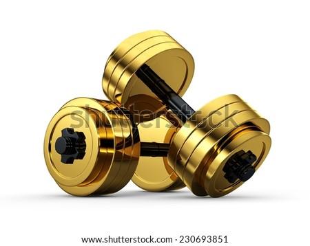 3d golden dumbbell isolated on white background. 3d golden fitness exercise equipment dumbbells weight isolated on white. - stock photo
