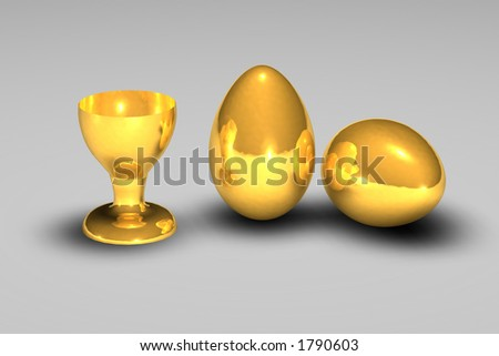 3d golden egg with cup - stock photo