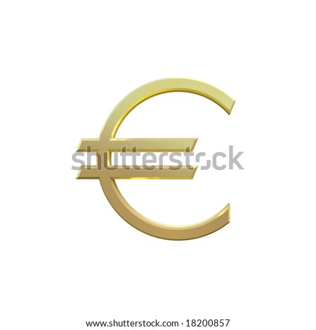 3D. Golden Euro Symbol Isolated on White