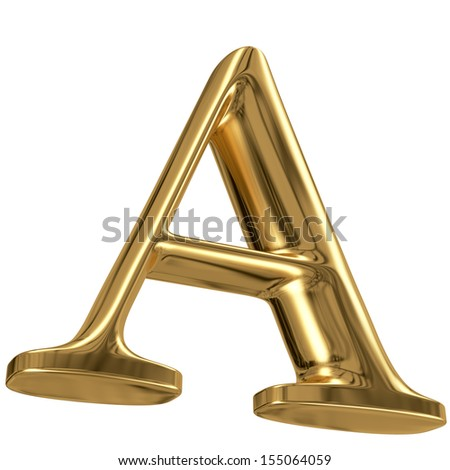 3d golden font letter collection - A