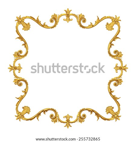 3d golden frame for picture on white background