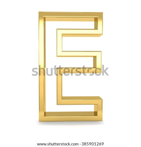 3d golden frame letter E rendering with gold metal empty line alphabet  - stock photo