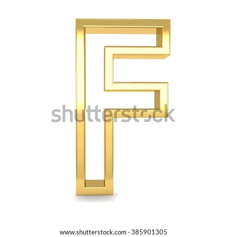 3d golden frame letter F rendering with gold metal empty line alphabet  - stock photo