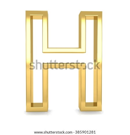 3d golden frame letter H rendering with gold metal empty line alphabet  - stock photo